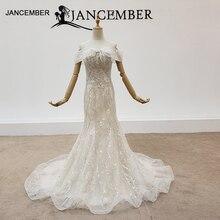HTL1414 düğün elbisesi tekne boyun kapalı omuz mermaid düğün elbisesi 2020 fermuar geri свадебное платье русалка