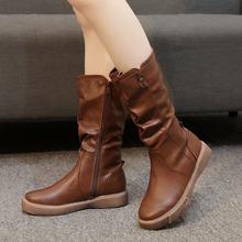 Новые зимние женские ковбойские ботинки с круглым носком удобные