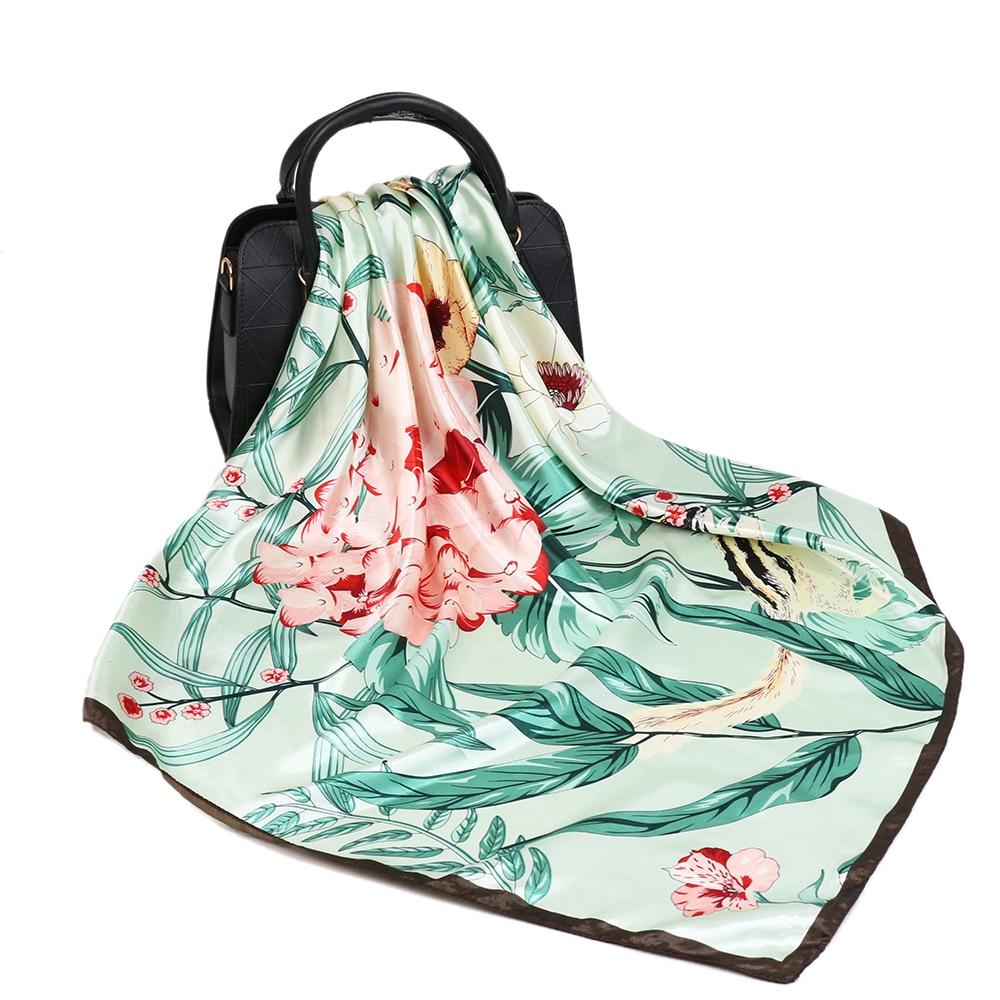 2020 Silk Scarf Women Fashion Designer Beautiful Flowers Foulard Soft Satin Shawl Scarfs Kerchief 90*90cm Square Neck Headscarf