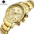 WWOOR Mens Watches Brand Luxury Chronograph Date Gold Men Quartz Watch Male Golden Stainless Steel Wristwatch Relogio Masculino