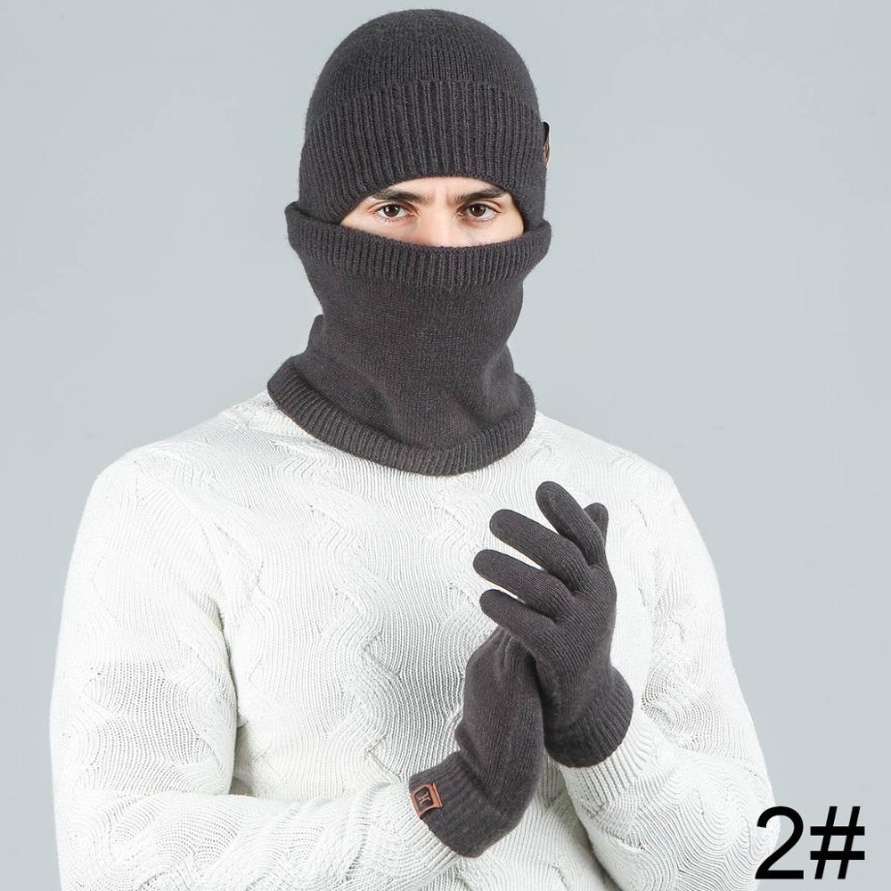Evrfelan модный мужской женский зимний комплект шапка и шарф и наборы перчаток для мужчин вязаный плотный теплый комплект из 3 предметов аксессуары в стиле унисекс - Цвет: dark gray