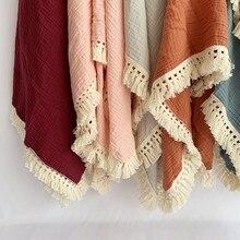Manta de muselina de algodón para bebé, edredón envolvente para recién nacido, Manta de algodón con borla, cubierta de cama para dormir infantil