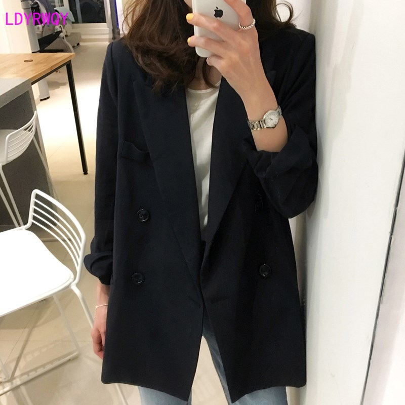 2019 autumn and winter new Korean women's loose casual wild long-sleeved double-breasted pocket fashion one-piece suit Solid