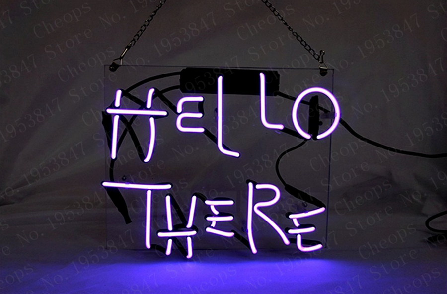 """New Hello There Neon Sign 14/"""" Wall Decor Artwork Light Lamp"""