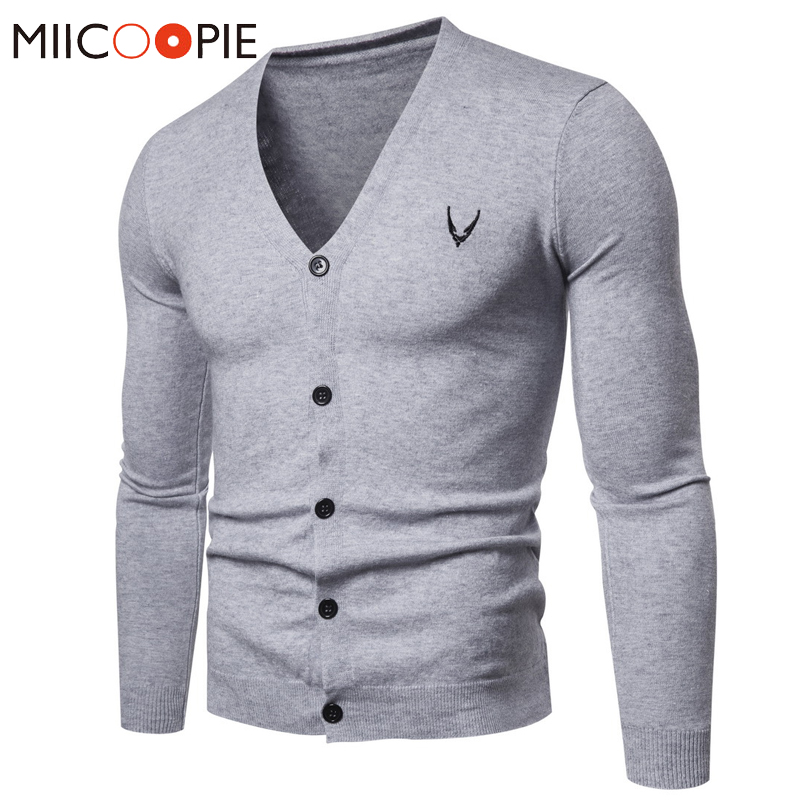Cardigan Men Grey Sweater Pull Homme Korean Clothes Fashion Brand Men Embroidery V-neck Knitwear Slim Casual Business Sweater