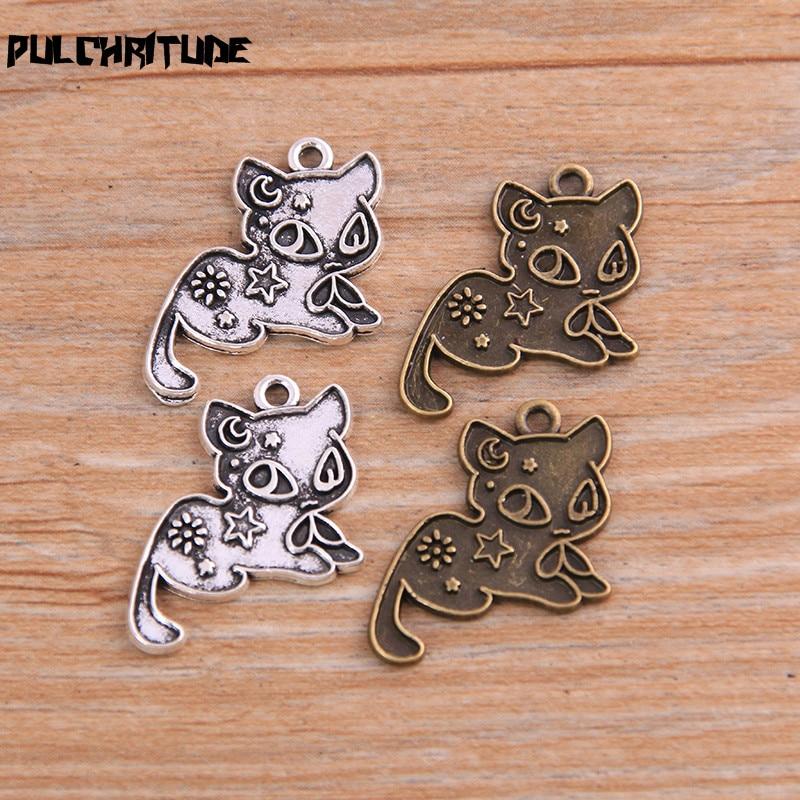 Breloques de chat deux couleurs, étoile de lune, bijoux en alliage métallique, nouveau produit, 17x20mm, 20 pièces