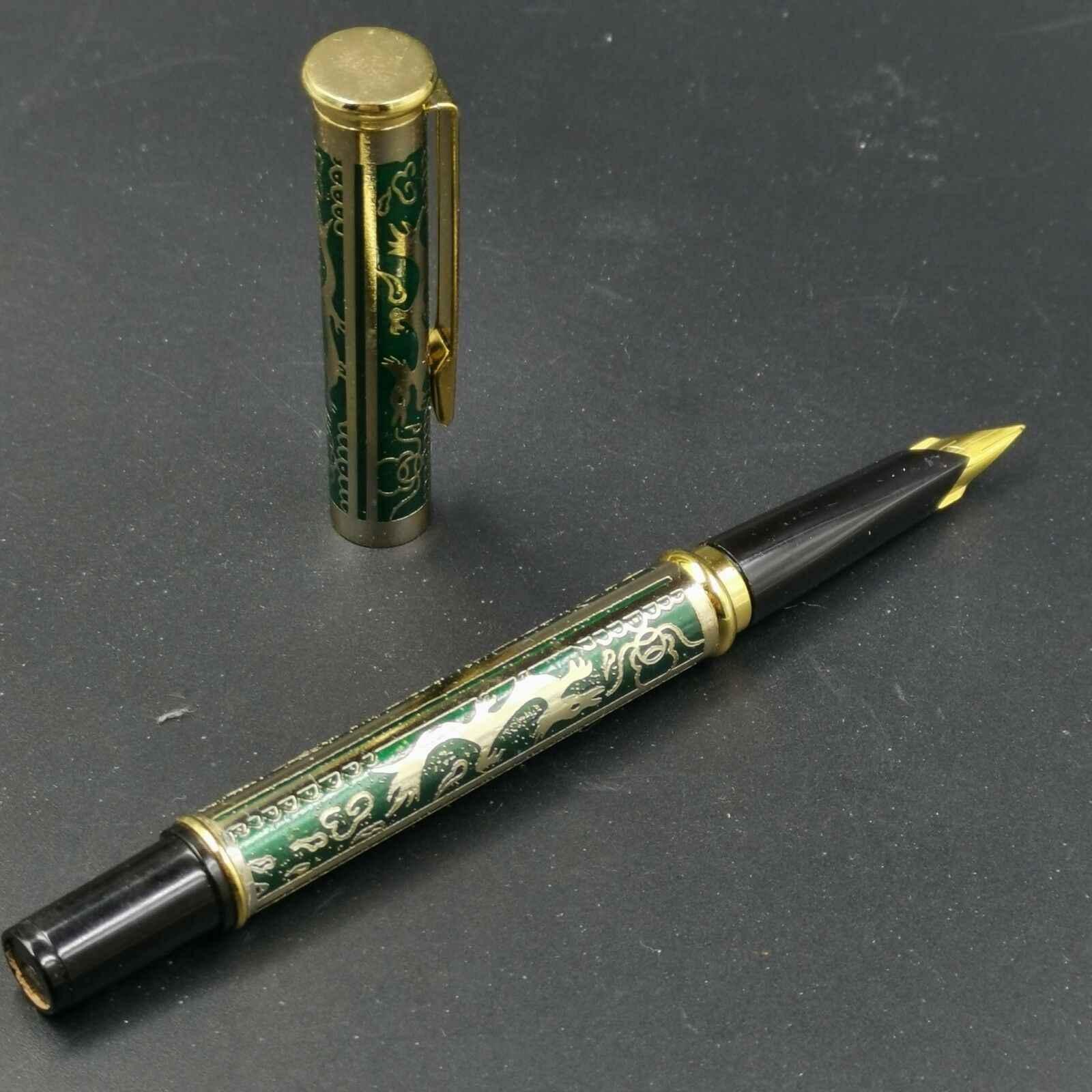 Yeni nadir eski stok, KSL dolma kalem, yeşil renk, ejderha desen kırtasiye ofis okul malzemeleri penna stilografica