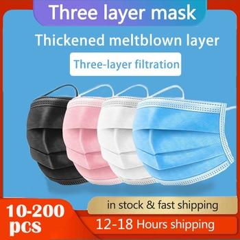 В наличии 10 шт./50 шт./100 шт./200 шт. маска одноразовая маска для лица, Китай ткали 3 Слои слоев фильтр маска для губ маска для лица из дышащего материала Earloops маски