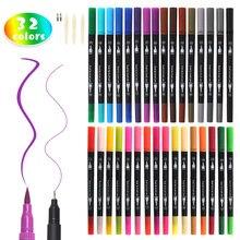 Marcador acrílico permanente da pintura de 32 cores canetas ponta dupla 0.4/3mm marcador da arte canetas escritório da escola do estudante artigos de papelaria