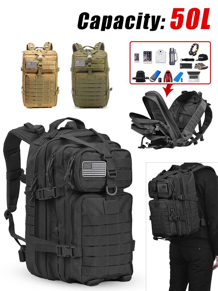 Military Tactical Backpack Rucksack Hunting-Bags Army Large-Capacity Hiking 50L Waterproof