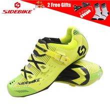 SIDEBIKE 4 Colors Mens Self-locking Cycling Shoes Road Bike Sneakers Non-slip Cycle with D-Link Buckle Zapatos Ciclismo