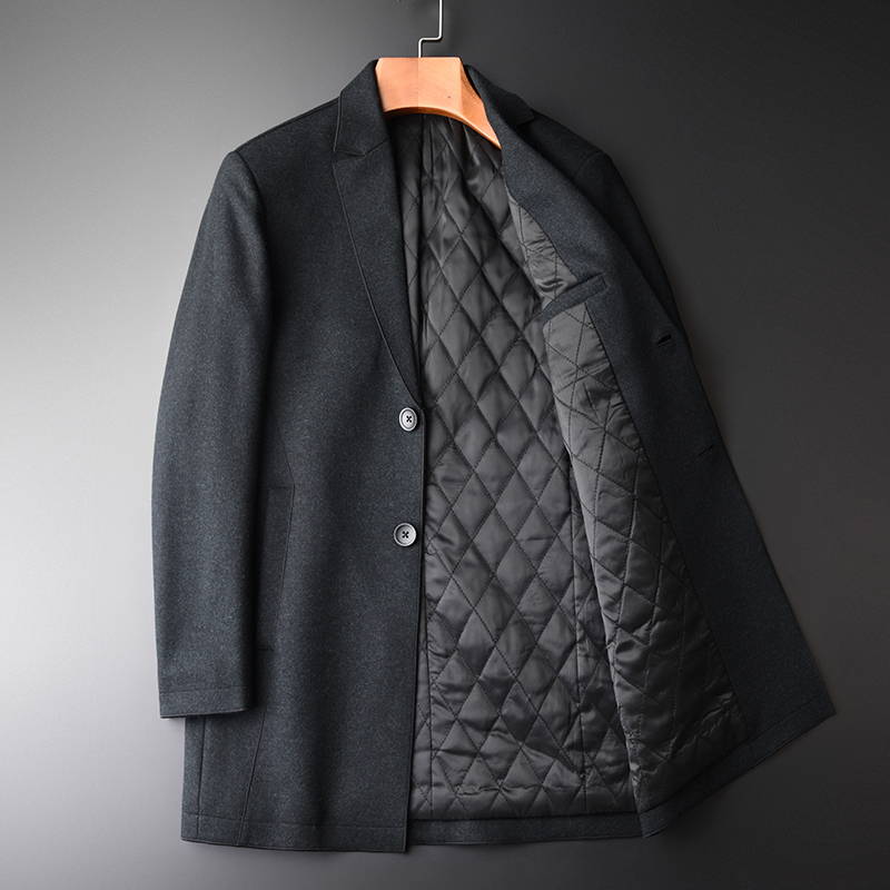 Wool Luxury Winter Mid Long Add Padding Thick Mens Coats And Jackets Fashion New Business Casual Trench Coat Men