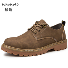 Whoholl New Men Leather Boots Fashion Autumn Winter Top Brand Ankle Boots Lace Up Men Shoes Footwear Casual Boots Drop Shipping