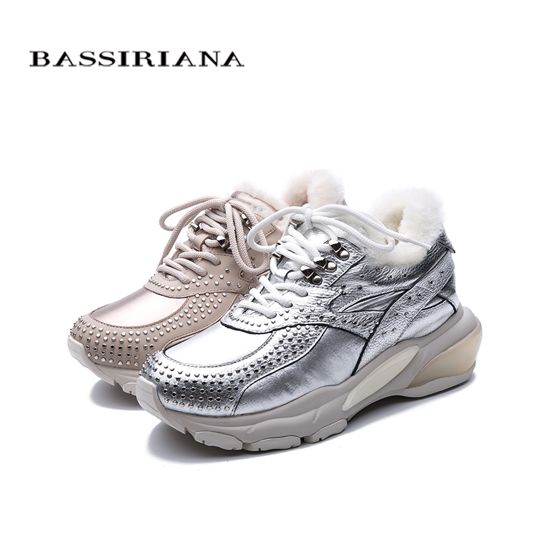 BASSIRIANA2019 winter ladies warm shoes casual shoes thick bottom increased fashion leather shoes flat shoes in Women 39 s Flats from Shoes