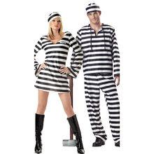 Vestido de halloween para as mulheres amantes roupas dos homens prisioneiro disfarce adulto carnaval masquerade preto branco listra jailbird trajes