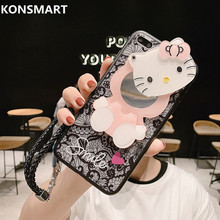 For Xiaomi Redmi Note 7 6 5 4 Mirror case Cartoon cat Soft Phone Cases S2 Go K20 Pro With Strap Cover
