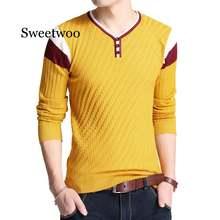 Мужской трикотажный свитер с v образным вырезом на пуговицах