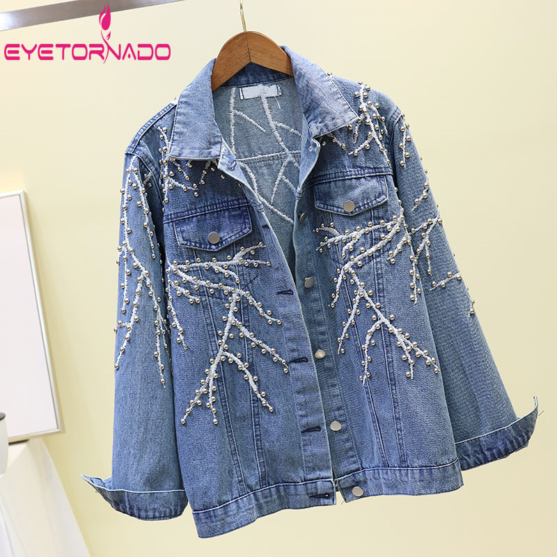 Chłopak haft nit kurtka dżinsowa krótki na co dzień Oversize duży rozmiar Jean kurtka z długim rękawem Harajuku Cowboy Denim płaszcz w Podstawowe kurtki od Odzież damska na  Grupa 1