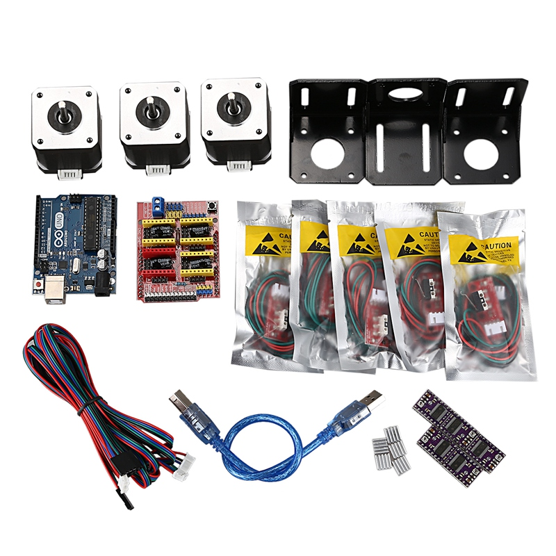 Professional 3D Printer CNC Module Kit for Arduino 3D Printer, Nema 17 Stepper Motor+CNC Shield Board+for UNO R3 Board+Mechanica