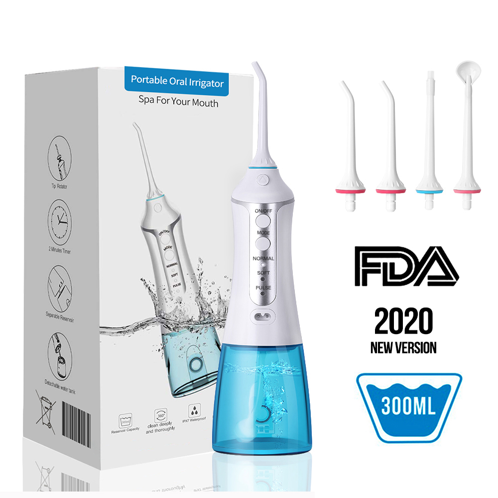 3 Modes Portable Oral Irrigator Cordless Water Dental Flosser USB Rechargeable 5 Nozzles Water Jet Floss Tooth Pick 300ml