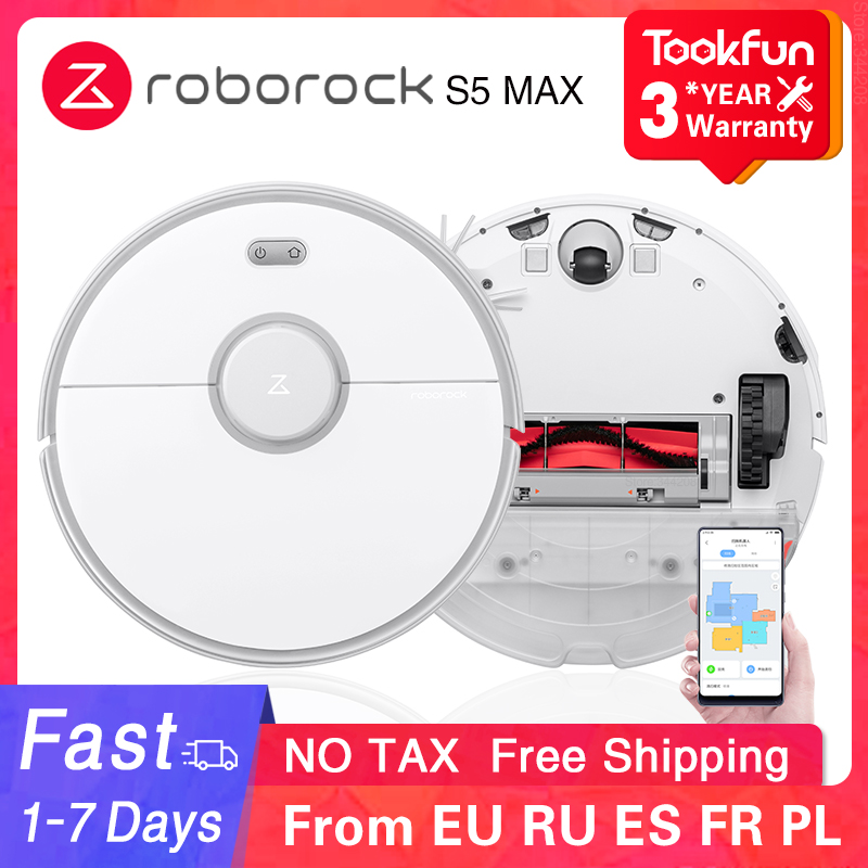 2020 Roborock S5 Max Robot Vacuum Cleaner Automatic Smart Planned Sweeping Dust Sterilize Washing Mop APP WIFI Cyclone suction 1