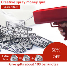 Make It Rain Money Gun Red Pink Toy Christmas Gift Party Toys Game 100PCS Cash Fashion Money Gun Toys Bubble Column For Package(China)