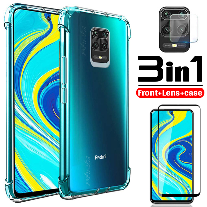 3in1 <font><b>glass</b></font>+airbag case for xiaomi redmi k30 k20 9t note 9 9se 8 8a 8t 7 6 6a pro max cc9 E <font><b>A2</b></font> lite soft anti-shock phone cover image