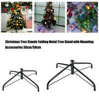 30cm/50cm Christmas Tree Stands Folding Metal Holder Base 4 Feets Christmas Tree Bracket Accessories for Home Decorations