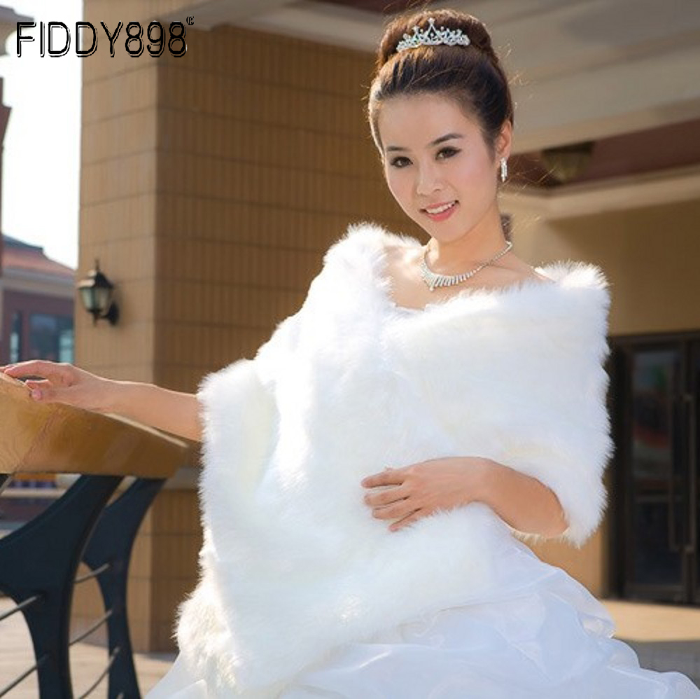 2020 Wedding Bolero Jacket Winter Wedding Wrap Warm faux fur Stoles Bridal Coat Accessories Wedding Cape Coat ASPS-1027