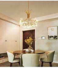 Nordic modern light luxury crystal lamp simple creative art living room LED bouquet dandelion chandelier
