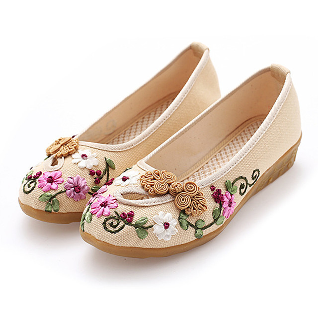 Classic cloth shoes casual shoes retro disc buckle handmade embroidered shoes tendon soles womens shoes