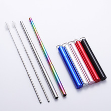 Stainless Steel Telescopic Drinking Straw Portable straw For Travel Reusable Collapsible Metal With Brush