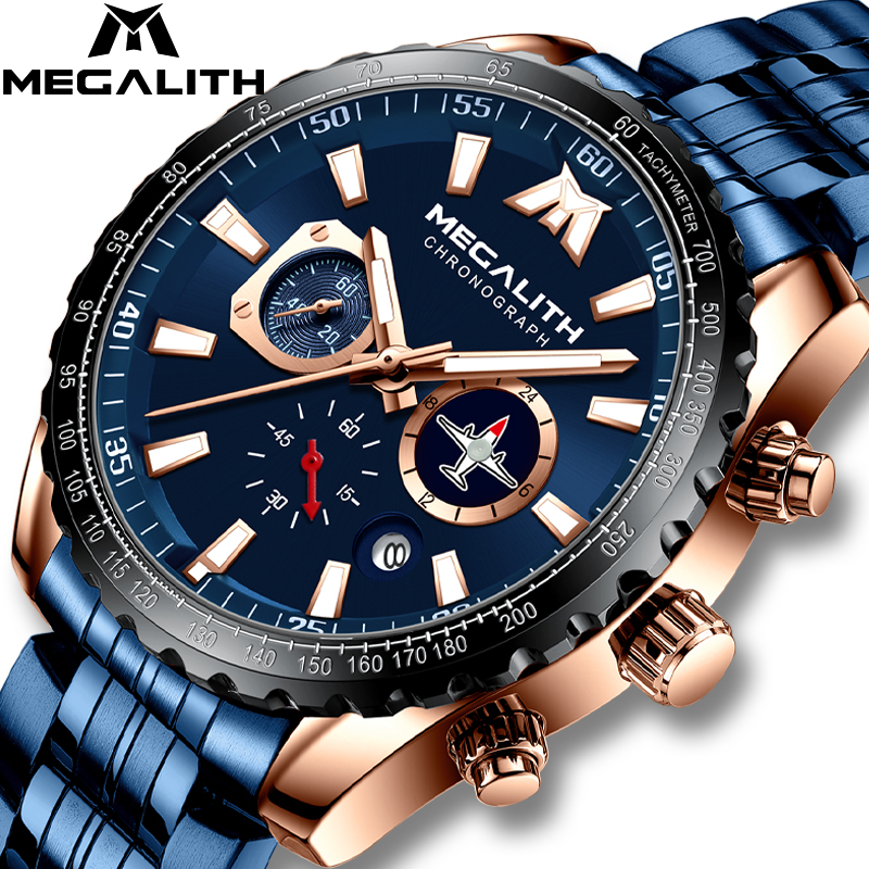MEGALITH Sports Military Watches Men Airplane Pointer Luminous Quartz Watch 30M Waterproof Blue Full Steel Wrist Watch With Box