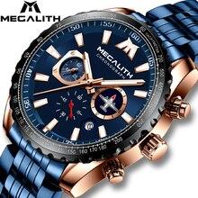 MEGALITH спортивные часы для мужчин, светящиеся кварцевые часы с указкой самолета, 30 м, водонепроницаемые, синие, полностью стальные, военные наручные часы с коробкой