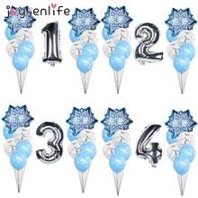 Christmas Snowflake Latex Balloons Baby Shower Decor Number Balloon Girl Kids Birthday Party Air Globos Xmas Snow Party Supplies