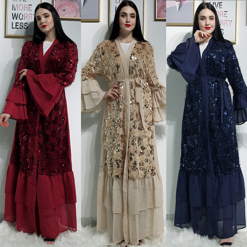 Open Abaya Dubai Kimono Turkish Hijab Muslim Dress Islamic Clothing Abayas For Women Caftan Marocain Moroccan Kaftan Djelaba