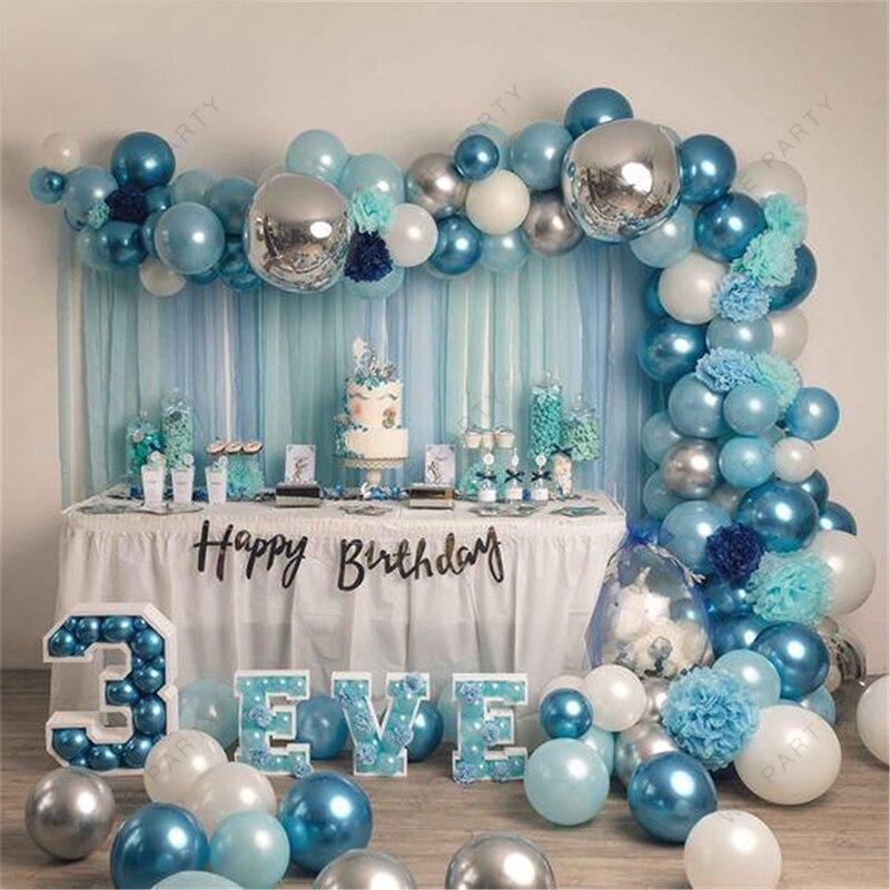 94 pçs azul branco prata metal balões garland ouro prata confetes balão arco aniversário chá de fraldas decoração da festa de casamento