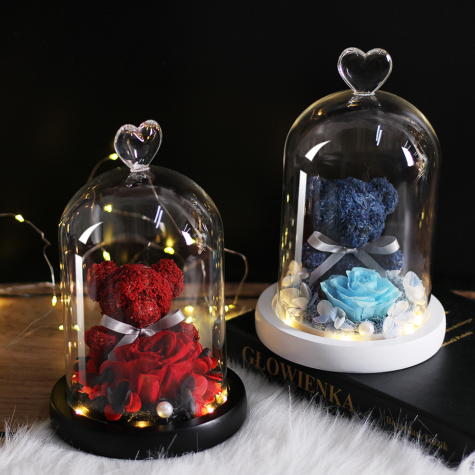 New Teddy Bear Rose Flowers In Glass Dome Christmas Festival DIY Cheap Home Wedding Decoration Birthday Valentine's Day Gifts