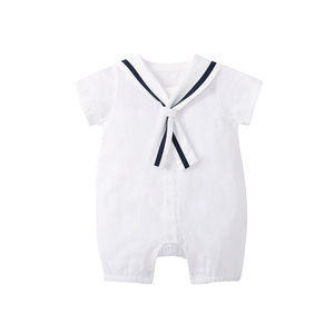 Image 3 - Комбинезон для новорожденных мальчиков Pureborn, матрос, праздничная детская одежда, летняя дышащая хлопковая одежда для мальчиков