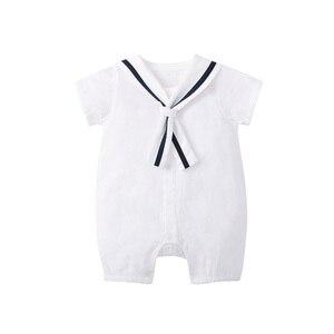 Image 3 - をpureborn新生児少年ロンパースセーラーホリデーベビー服夏通気性の綿ベビーロンパースクリスマス服