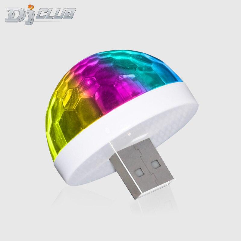 Mini USB LED Disko Portable Pesta Natal Magic Ball Lampu Panggung Disco Club Efek Warna-warni Tahap Lampu untuk Ponsel telepon title=