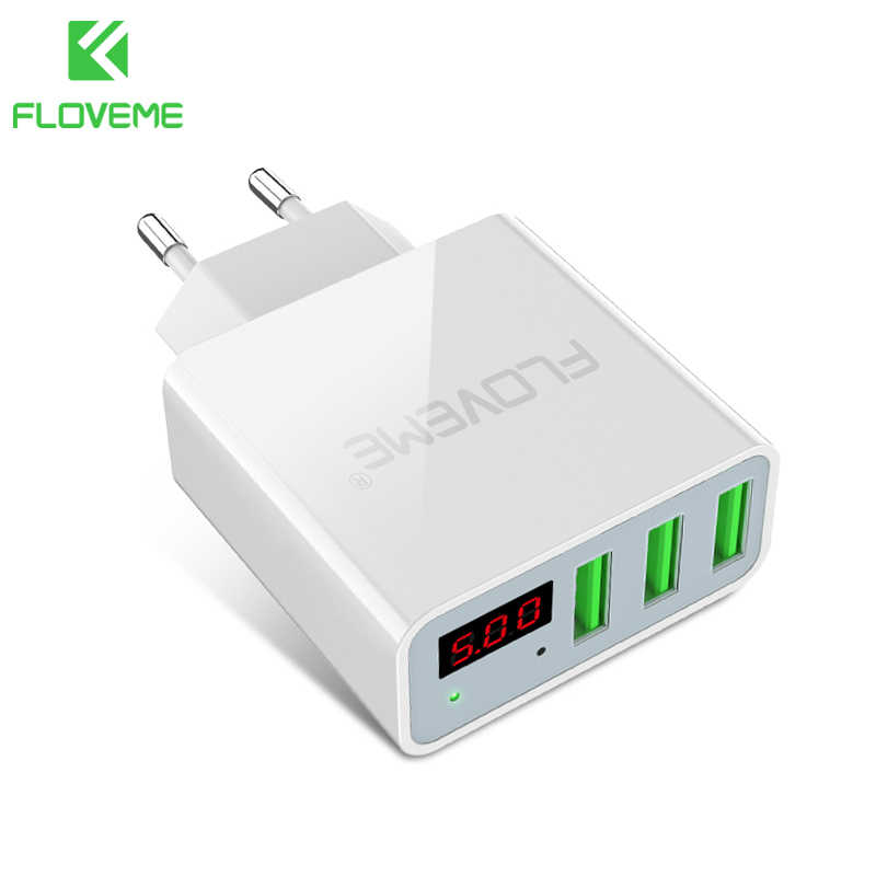 Floveme USB Charger 15W 3 Port + LED Display Portable Charger Telepon Cepat Pengisian USB Travel Adapter untuk iPhone X 8 Samsung S8