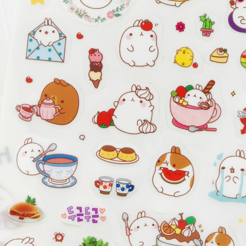 6 Sheets/Pack Molang Kawaii Rabbit Adhesive Stickers Decorative Stick Label Decor Kids Gift