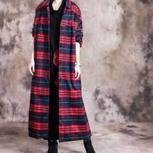 Женское зимнее шерстяное клетчатое длинное пальто, верхняя одежда для девушек Ретро размера плюс, однобортное пальто для женщин