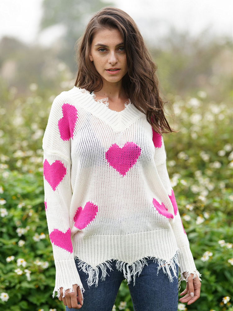 Heart Knitted Womens Sweaters 2020 Autumn V Collar Long Sleeve Loose Pollover Sweater Love Splice Sexy Christmas Sweater Winter