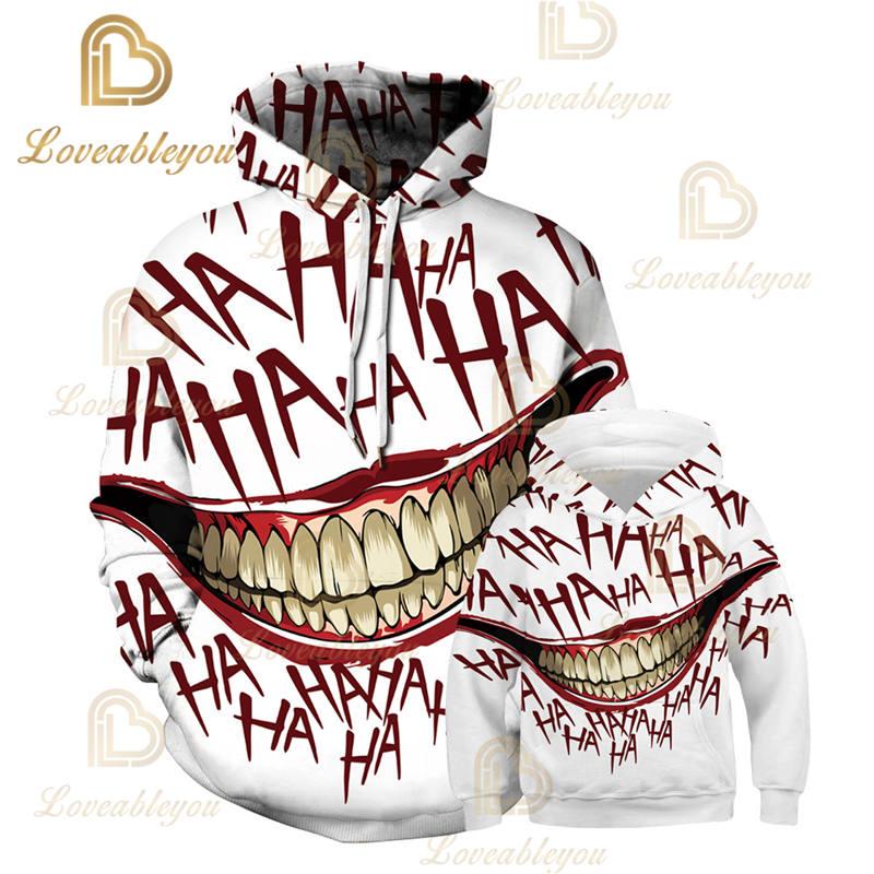 HAHA Joker Cool 3D 2019 New Arrival Warm Hoodies Fashion Women/men/Kids Fashion Parent-child New Arrival Hoodies Sweatshirt