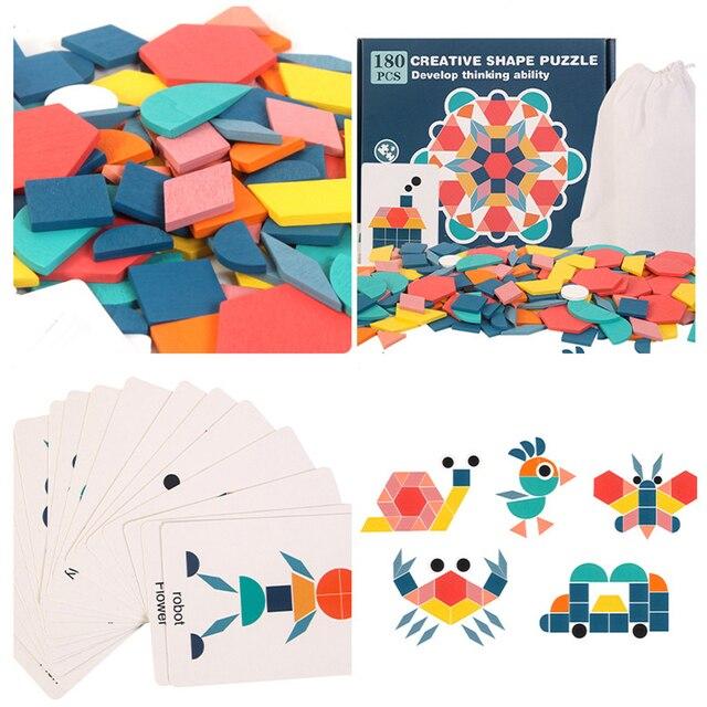 ילדים חדשים עץ 3D פאזל חכם לוח תינוק מונטסורי חינוכי למידה צעצועים לילדים צורה גיאומטרית חידות צעצוע 2