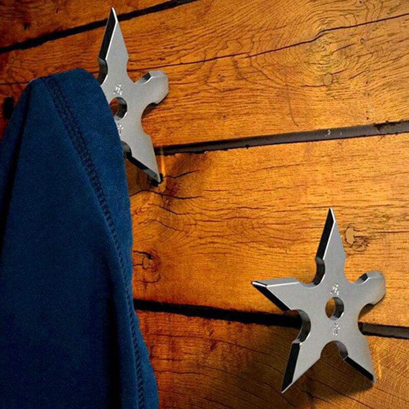 Coat Hooks Ninja Star Shape Stainless Steel Creative Wall Door Hook Clothes Hats Hanger Holder Home Decoration