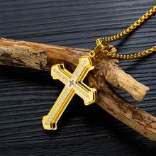 Hot Jewelry Cross Pendant Necklace Titanium Steel Men's Necklace Three-Tiered Cross Bible Trendy Male Pendant Chain Male(China)