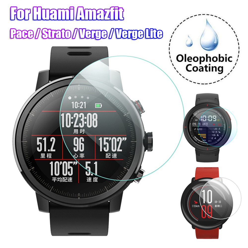 New 2.5D Curved Tempered Glass Screen Protectors Smart Watch Protective Films Guard For Huami Amazfit Pace Stratos Verge Lite
